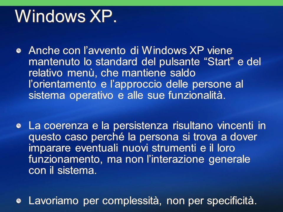 Anche con lavvento di Windows XP viene mantenuto lo standard del pulsante Start e del relativo menù, che mantiene saldo lorientamento e lapproccio delle persone al sistema operativo e alle sue funzionalità.