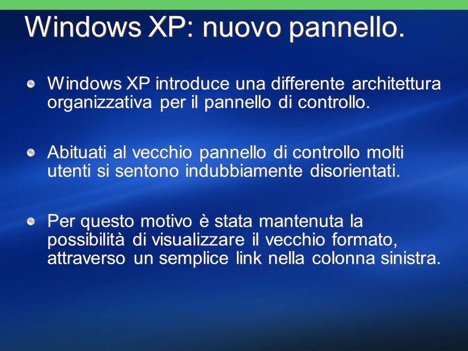 Windows XP introduce una differente architettura organizzativa per il pannello di controllo.
