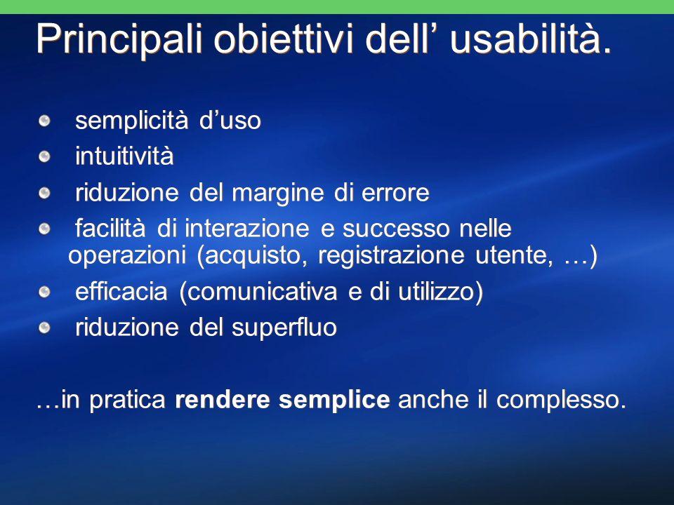 Principali obiettivi dell usabilità. semplicità duso intuitività riduzione del margine di errore facilità di interazione e successo nelle operazioni (