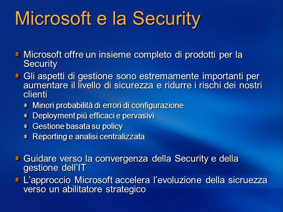 Microsoft e la Security Microsoft offre un insieme completo di prodotti per la Security Gli aspetti di gestione sono estremamente importanti per aumen