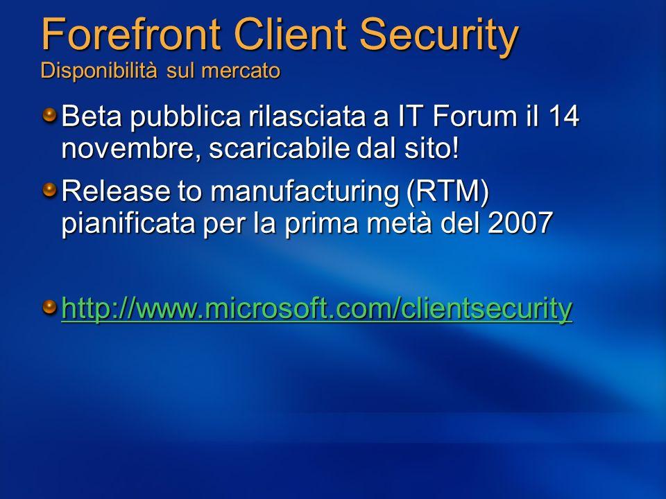 Forefront Client Security Disponibilità sul mercato Beta pubblica rilasciata a IT Forum il 14 novembre, scaricabile dal sito! Release to manufacturing