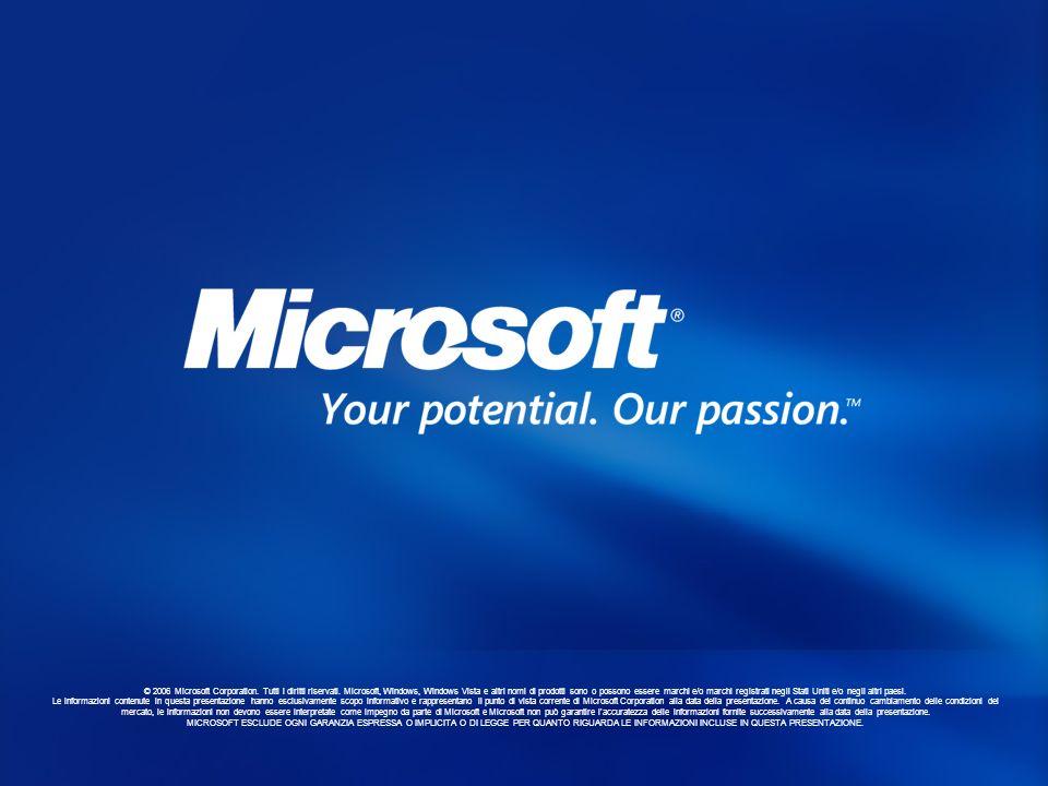 © 2006 Microsoft Corporation. Tutti i diritti riservati. Microsoft, Windows, Windows Vista e altri nomi di prodotti sono o possono essere marchi e/o m