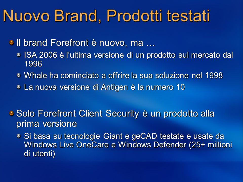 Nuovo Brand, Prodotti testati Il brand Forefront è nuovo, ma … ISA 2006 è lultima versione di un prodotto sul mercato dal 1996 Whale ha cominciato a o