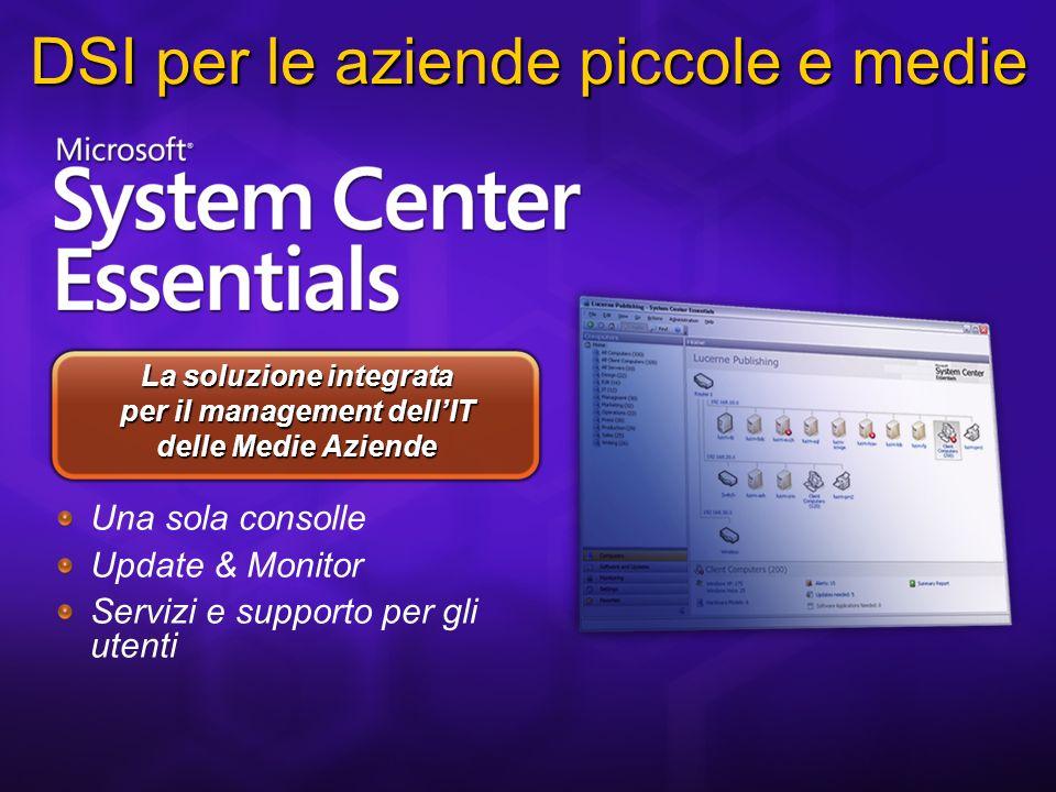 Una sola consolle Update & Monitor Servizi e supporto per gli utenti La soluzione integrata per il management dellIT delle Medie Aziende DSI per le aziende piccole e medie