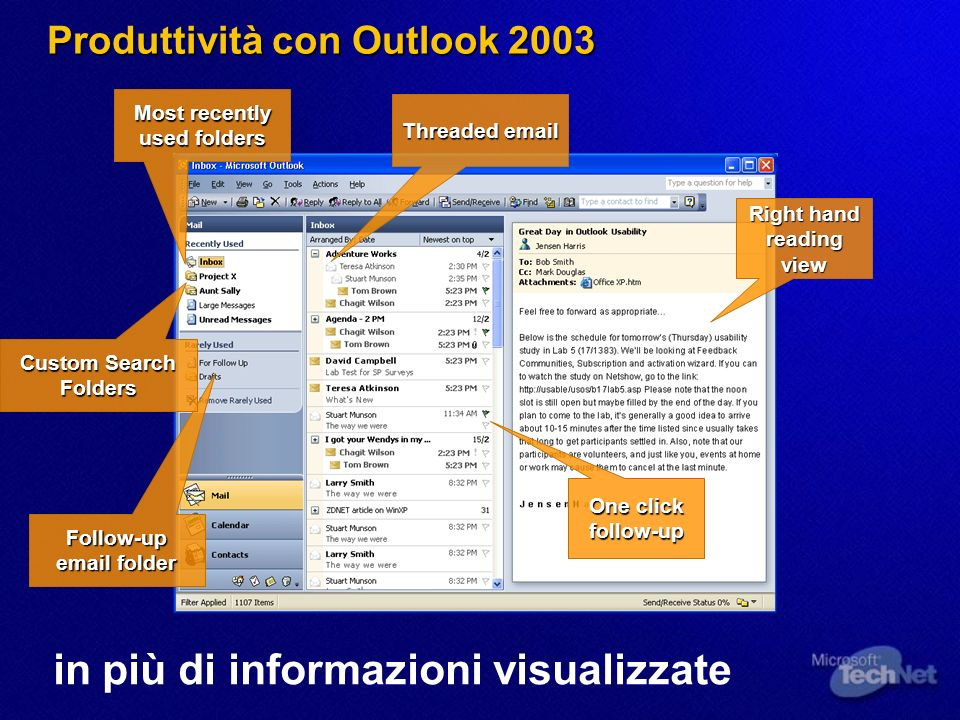 Produttività con Outlook 2003 in più di informazioni visualizzate Right hand reading view One click follow-up Most recently used folders Threaded email Follow-up email folder Custom Search Folders