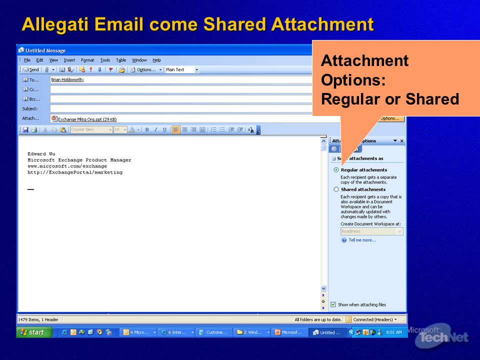 Attachment Options: Regular or Shared Allegati Email come Shared Attachment