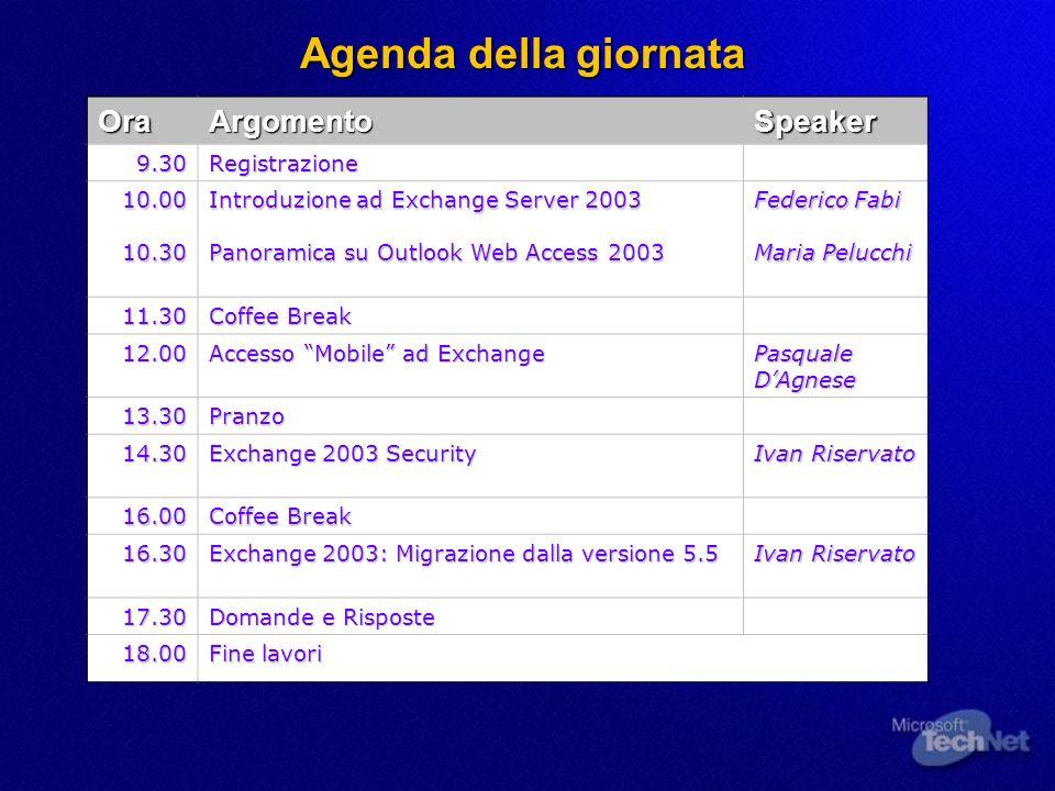 Agenda della giornata OraArgomentoSpeaker 9.30Registrazione 10.0010.30 Introduzione ad Exchange Server 2003 Panoramica su Outlook Web Access 2003 Fede