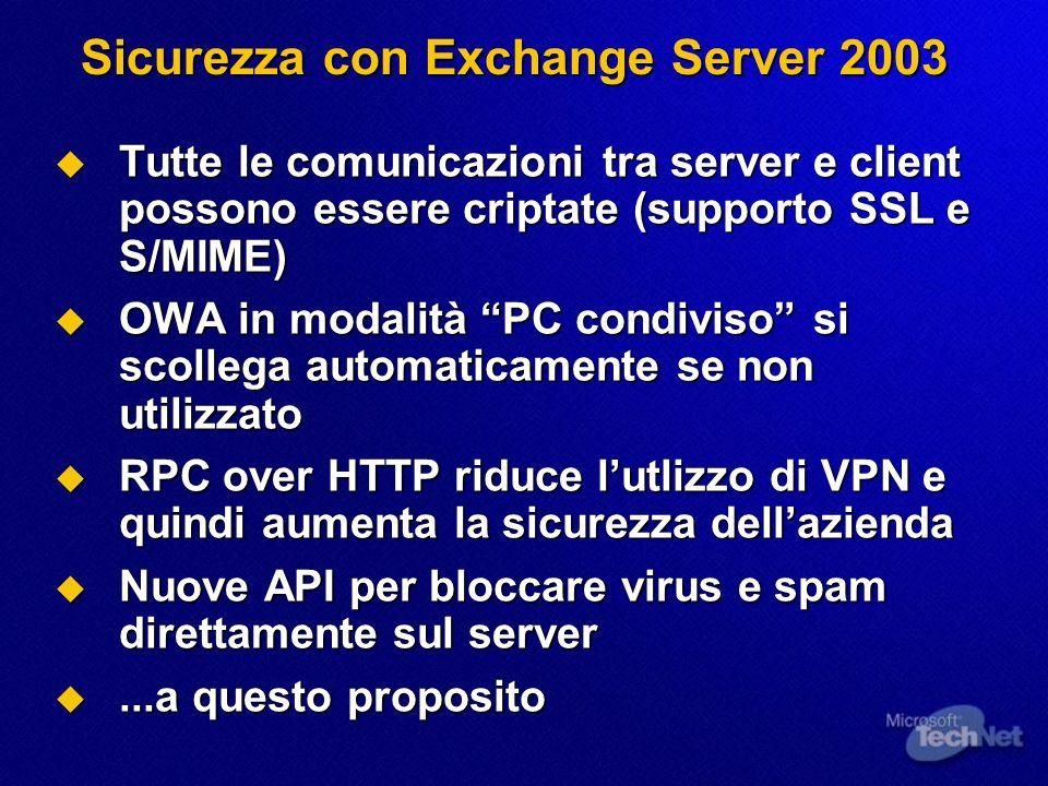 Sicurezza con Exchange Server 2003 Tutte le comunicazioni tra server e client possono essere criptate (supporto SSL e S/MIME) Tutte le comunicazioni t