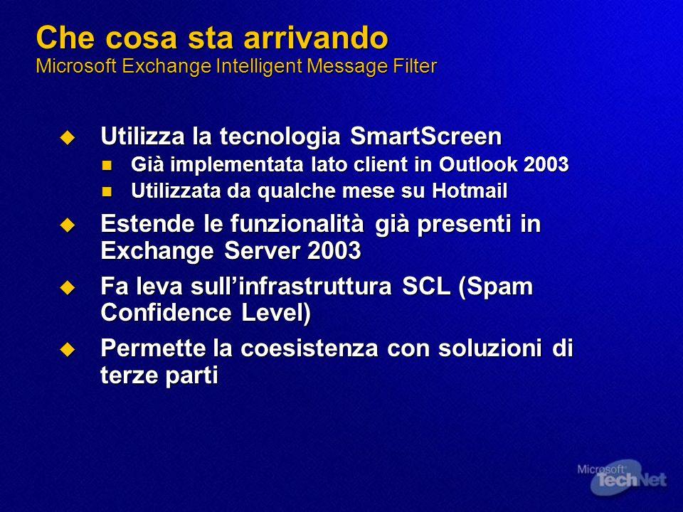 Che cosa sta arrivando Microsoft Exchange Intelligent Message Filter Utilizza la tecnologia SmartScreen Utilizza la tecnologia SmartScreen Già impleme