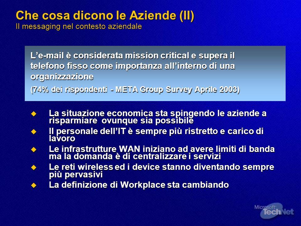 Che cosa dicono le Aziende (II) Il messaging nel contesto aziendale Le-mail è considerata mission critical e supera il telefono fisso come importanza