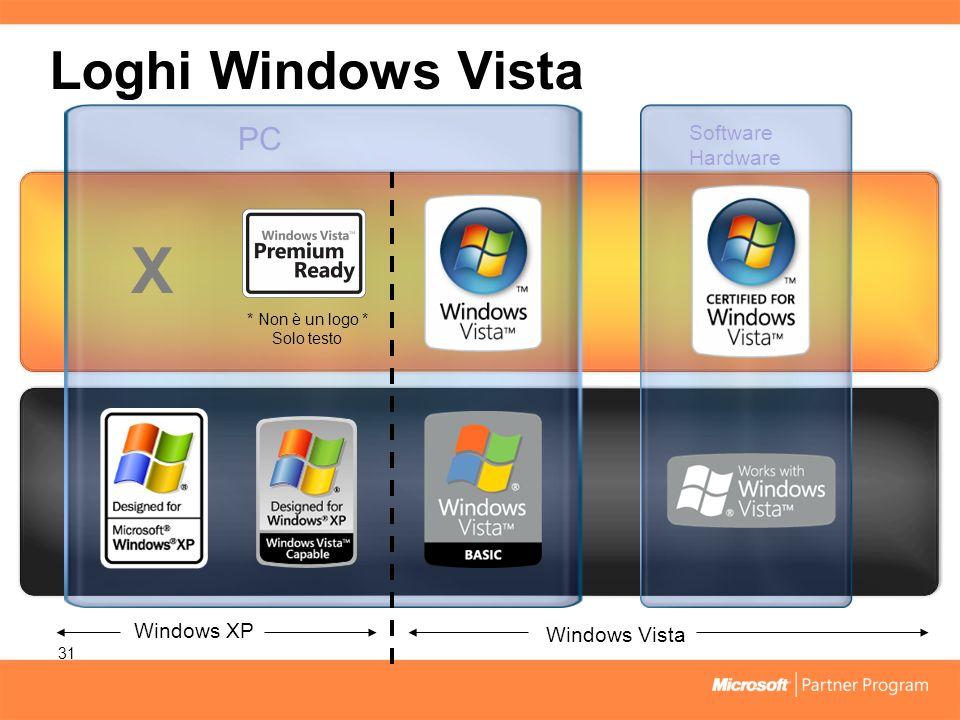 Loghi Windows Vista 31 PC Software Hardware Windows XP Windows Vista X * Non è un logo * Solo testo