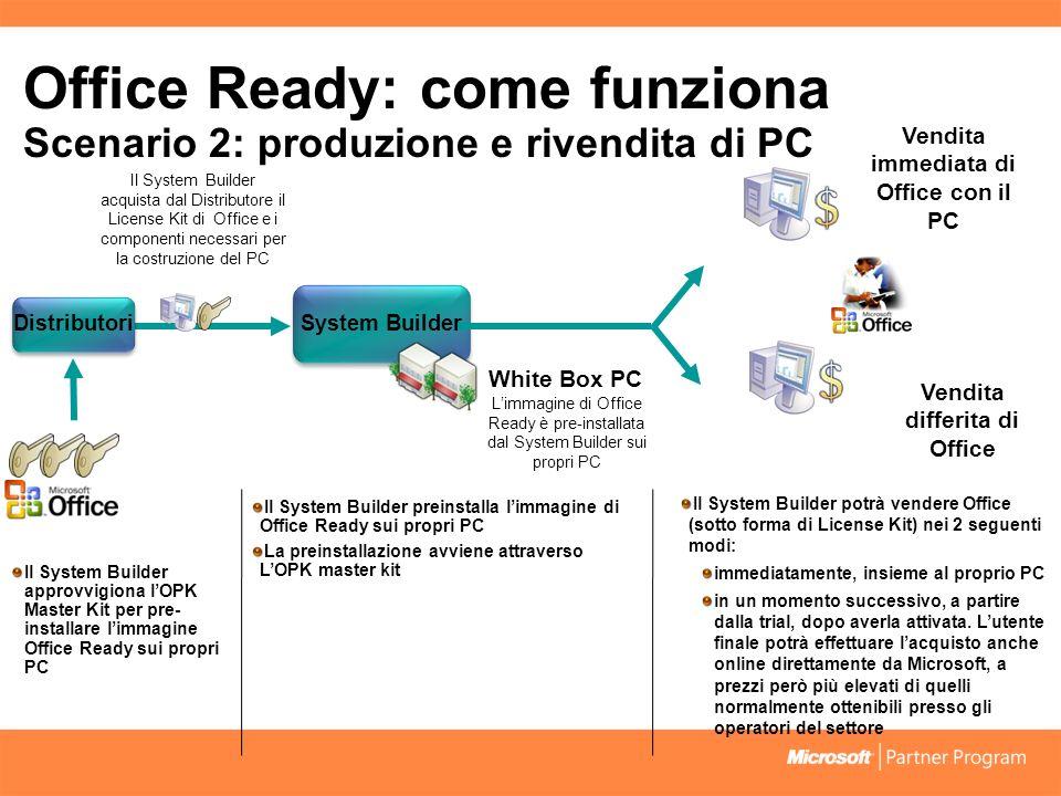 Office Ready: come funziona Scenario 2: produzione e rivendita di PC Il System Builder potrà vendere Office (sotto forma di License Kit) nei 2 seguenti modi: immediatamente, insieme al proprio PC in un momento successivo, a partire dalla trial, dopo averla attivata.