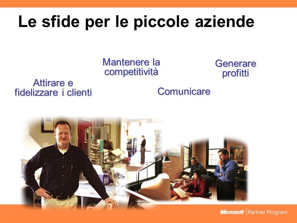 Mantenere la competitività Comunicare Attirare e fidelizzare i clienti Generare profitti Le sfide per le piccole aziende