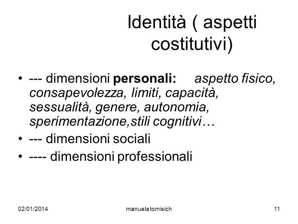 02/01/2014manuela tomisich11 Identità ( aspetti costitutivi) --- dimensioni personali: aspetto fisico, consapevolezza, limiti, capacità, sessualità, g
