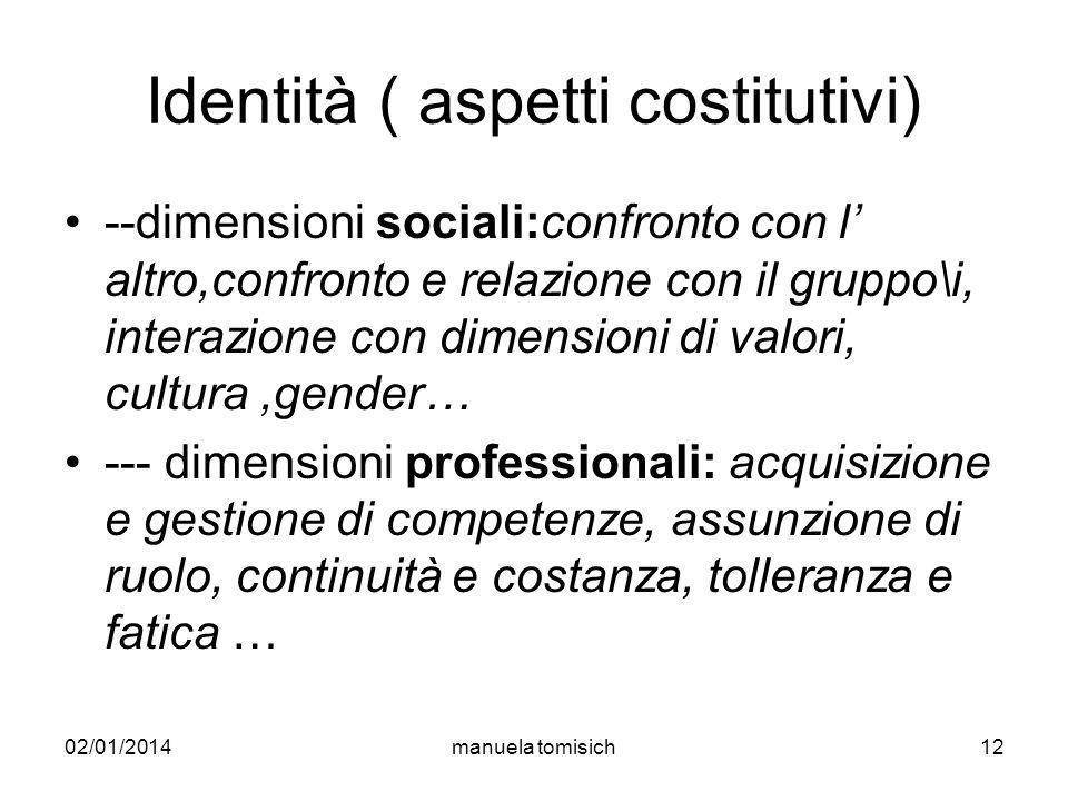 02/01/2014manuela tomisich12 Identità ( aspetti costitutivi) --dimensioni sociali:confronto con l altro,confronto e relazione con il gruppo\i, interaz
