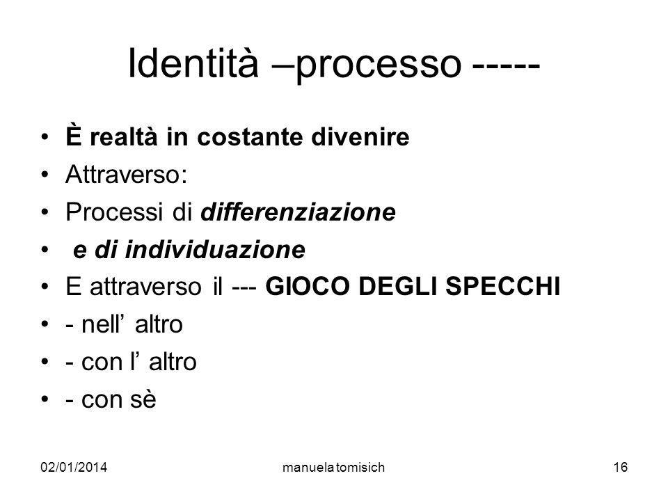 02/01/2014manuela tomisich16 Identità –processo ----- È realtà in costante divenire Attraverso: Processi di differenziazione e di individuazione E att