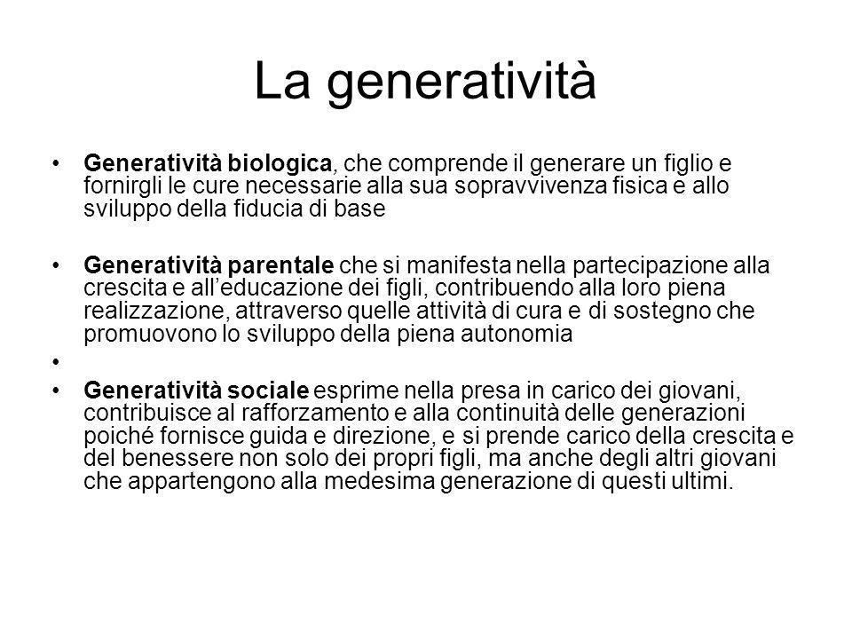 La generatività Generatività biologica, che comprende il generare un figlio e fornirgli le cure necessarie alla sua sopravvivenza fisica e allo svilup