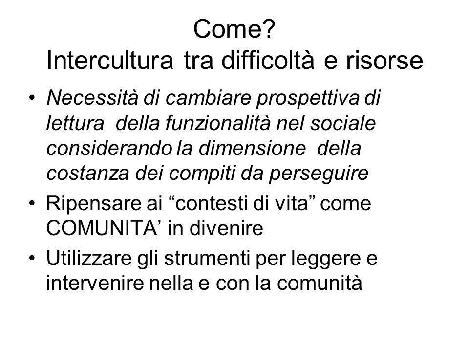 Come? Intercultura tra difficoltà e risorse Necessità di cambiare prospettiva di lettura della funzionalità nel sociale considerando la dimensione del
