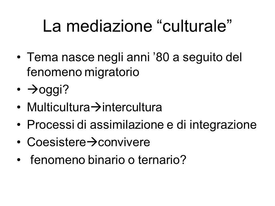 La mediazione culturale Tema nasce negli anni 80 a seguito del fenomeno migratorio oggi? Multicultura intercultura Processi di assimilazione e di inte