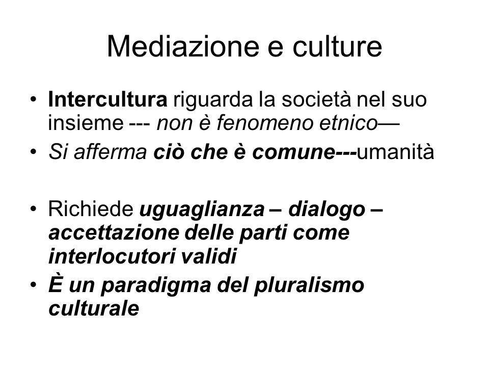 Mediazione e culture Intercultura riguarda la società nel suo insieme --- non è fenomeno etnico Si afferma ciò che è comune---umanità Richiede uguagli