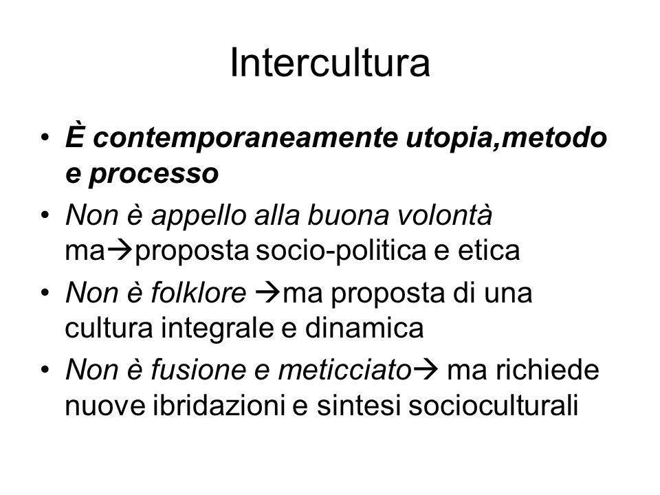 Intercultura È contemporaneamente utopia,metodo e processo Non è appello alla buona volontà ma proposta socio-politica e etica Non è folklore ma propo