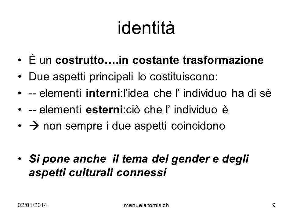 02/01/2014manuela tomisich9 identità È un costrutto….in costante trasformazione Due aspetti principali lo costituiscono: -- elementi interni:lidea che