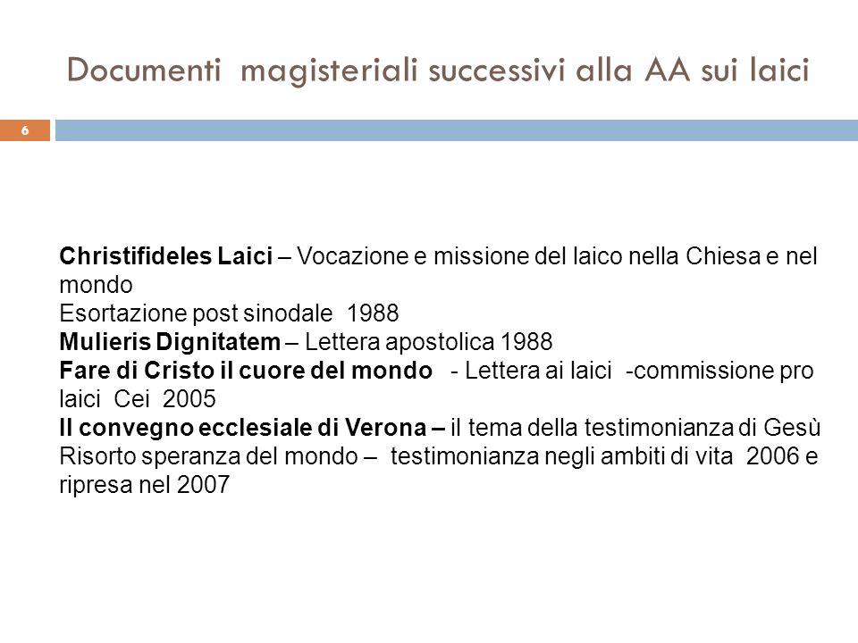 Chi è il Christifideles Laici – il dibattito intorno al 1987 7 In Italia cera allora un vivace dibattito teologico sui laici.