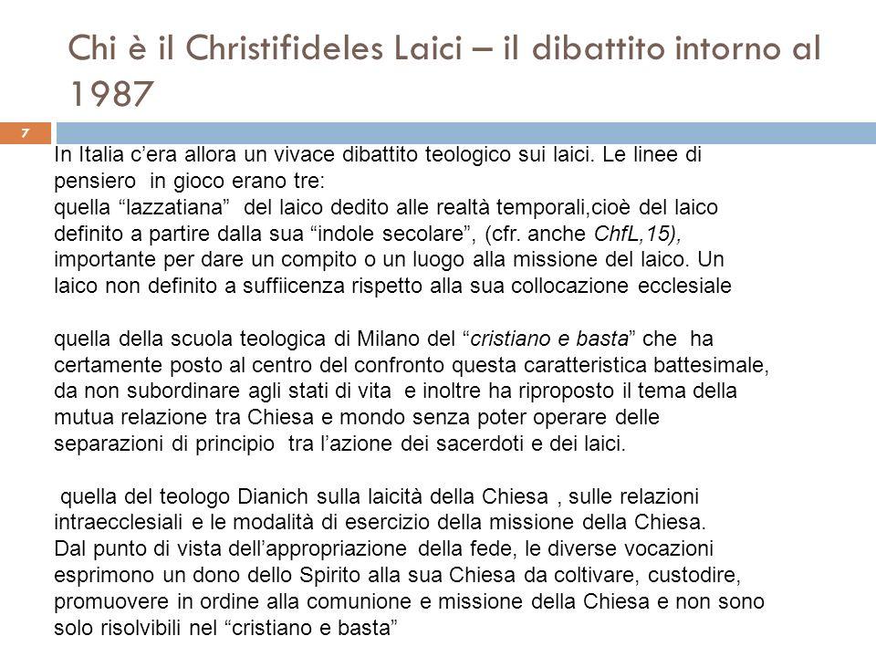 Chi è il Christifideles Laici – il dibattito intorno al 1987 7 In Italia cera allora un vivace dibattito teologico sui laici. Le linee di pensiero in
