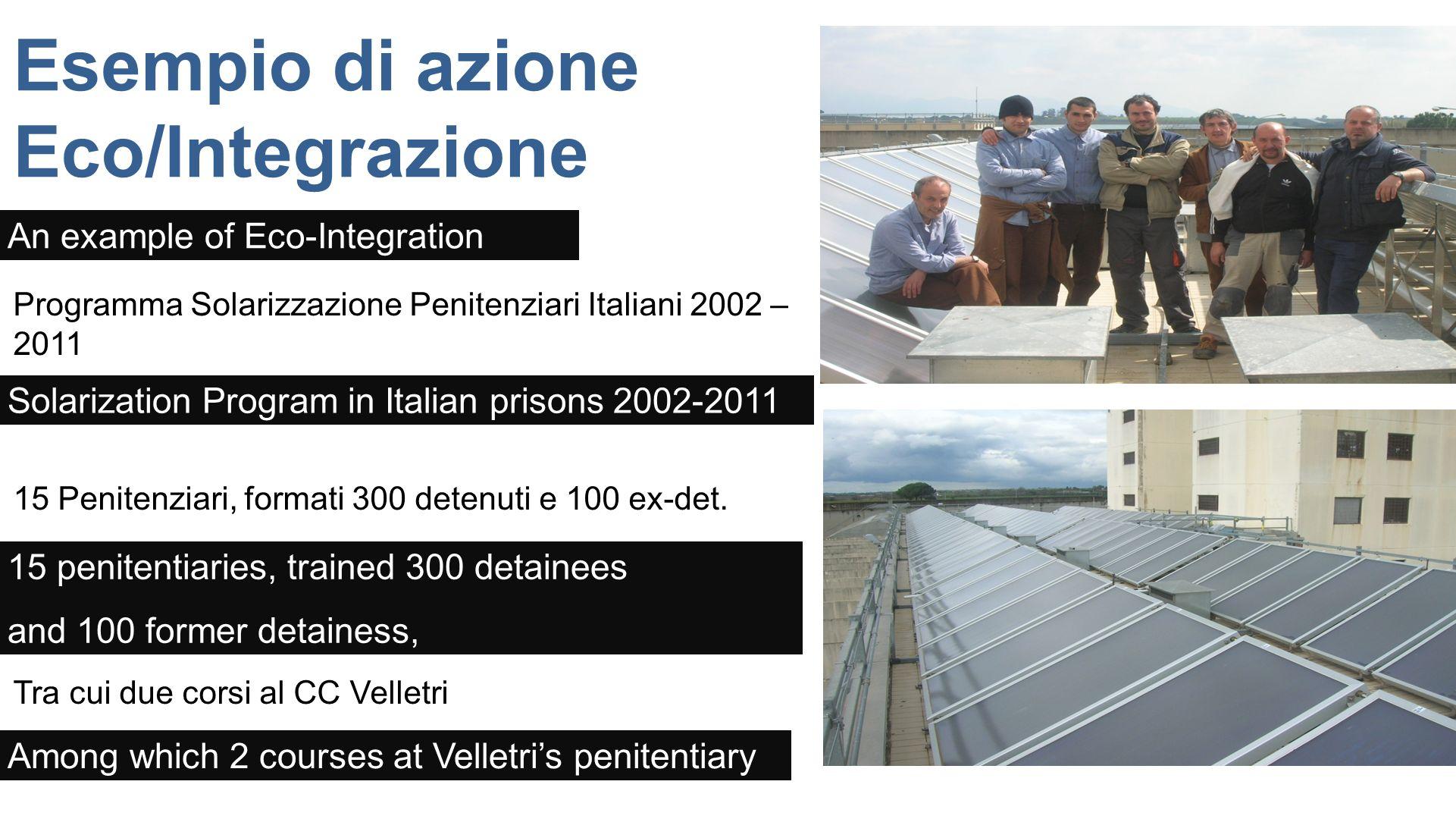 Esempio di azione Eco/Integrazione Programma Solarizzazione Penitenziari Italiani 2002 – 2011 15 Penitenziari, formati 300 detenuti e 100 ex-det. Tra