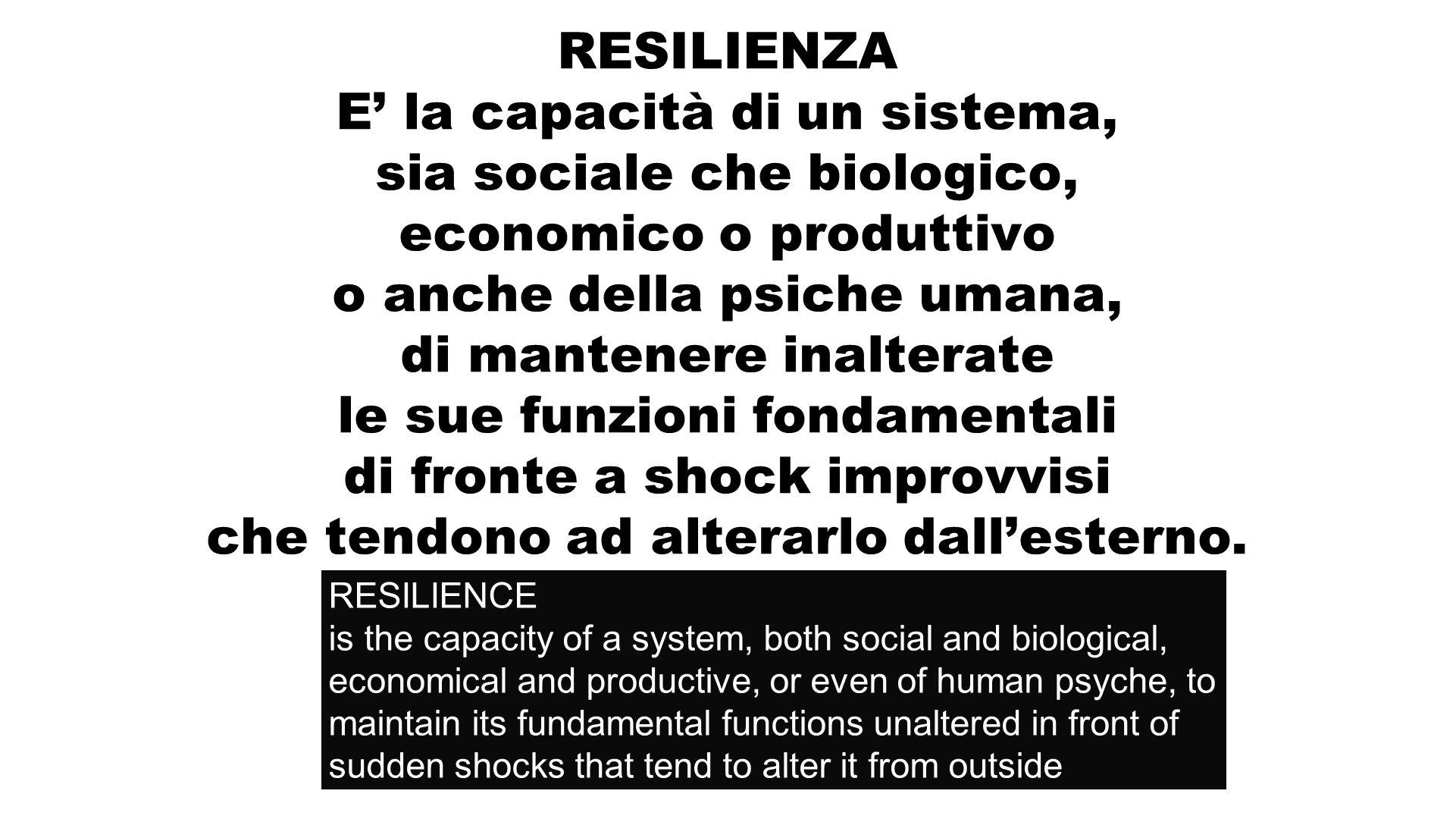 RESILIENZA E la capacità di un sistema, sia sociale che biologico, economico o produttivo o anche della psiche umana, di mantenere inalterate le sue funzioni fondamentali di fronte a shock improvvisi che tendono ad alterarlo dallesterno.