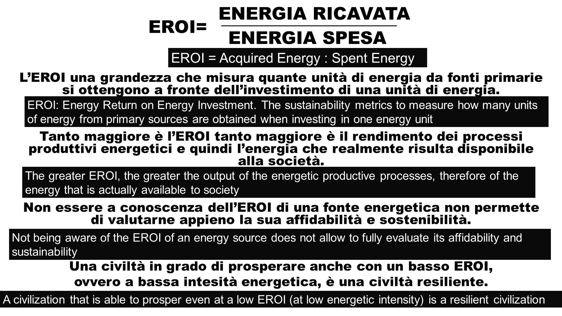LEROI una grandezza che misura quante unità di energia da fonti primarie si ottengono a fronte dellinvestimento di una unità di energia.