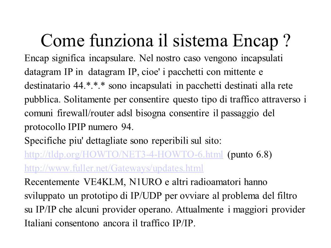 Come funziona il sistema Encap ? Encap significa incapsulare. Nel nostro caso vengono incapsulati datagram IP in datagram IP, cioe' i pacchetti con mi