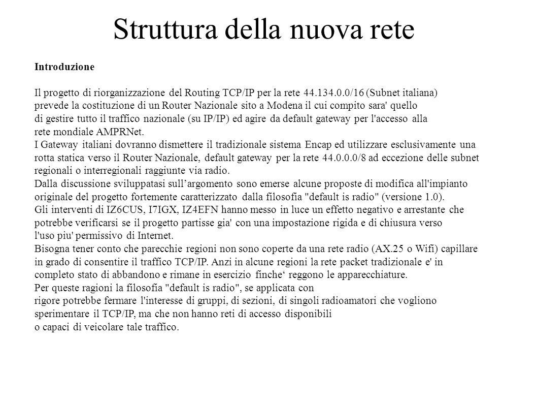 Struttura della nuova rete Introduzione Il progetto di riorganizzazione del Routing TCP/IP per la rete 44.134.0.0/16 (Subnet italiana) prevede la cost