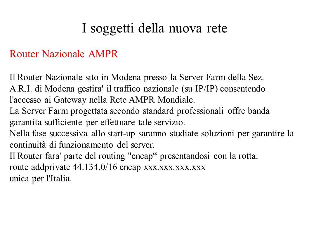 I soggetti della nuova rete Router Nazionale AMPR Il Router Nazionale sito in Modena presso la Server Farm della Sez. A.R.I. di Modena gestira' il tra
