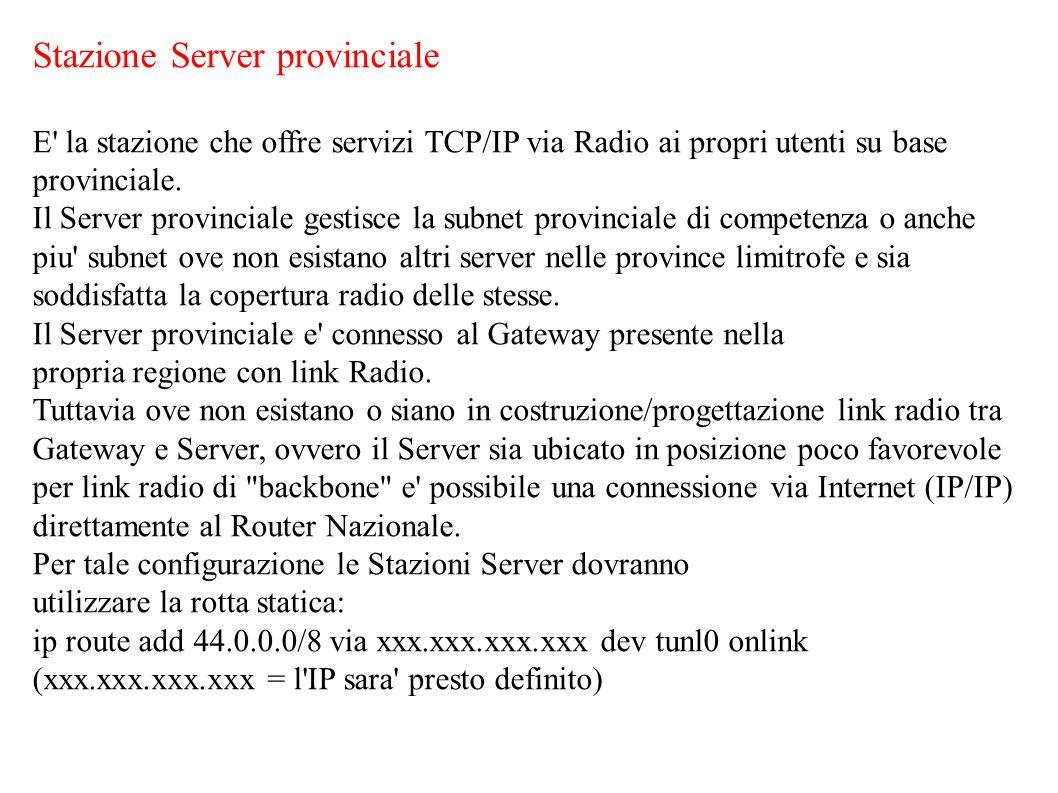 Stazione Server provinciale E' la stazione che offre servizi TCP/IP via Radio ai propri utenti su base provinciale. Il Server provinciale gestisce la