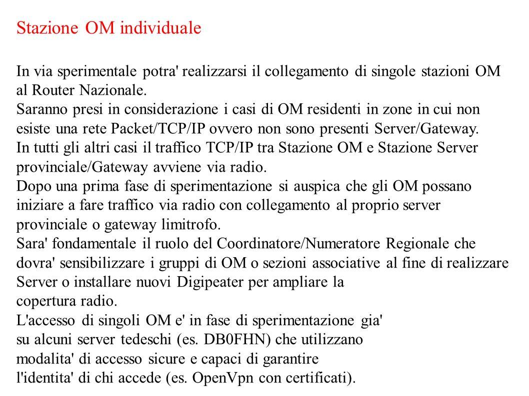 Stazione OM individuale In via sperimentale potra' realizzarsi il collegamento di singole stazioni OM al Router Nazionale. Saranno presi in consideraz