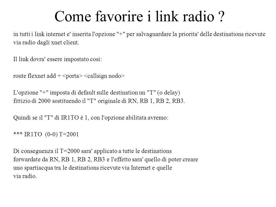 Come favorire i link radio ? in tutti i link internet e' inserita l'opzione