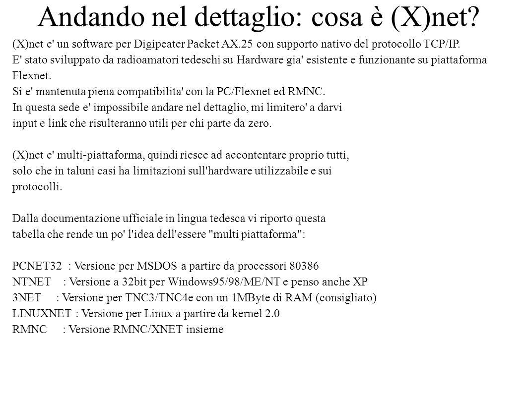 Andando nel dettaglio: cosa è (X)net? (X)net e' un software per Digipeater Packet AX.25 con supporto nativo del protocollo TCP/IP. E' stato sviluppato
