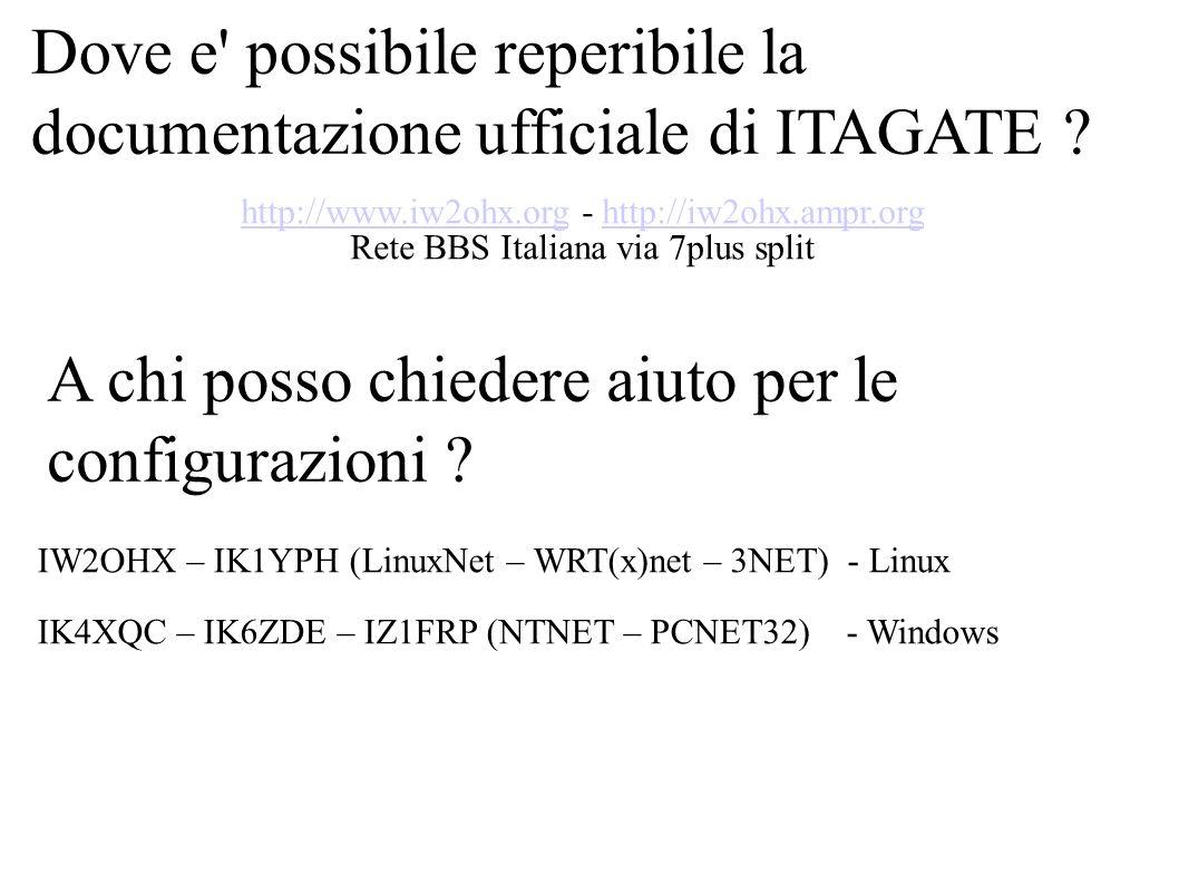 Dove e' possibile reperibile la documentazione ufficiale di ITAGATE ? http://www.iw2ohx.orghttp://www.iw2ohx.org - http://iw2ohx.ampr.orghttp://iw2ohx