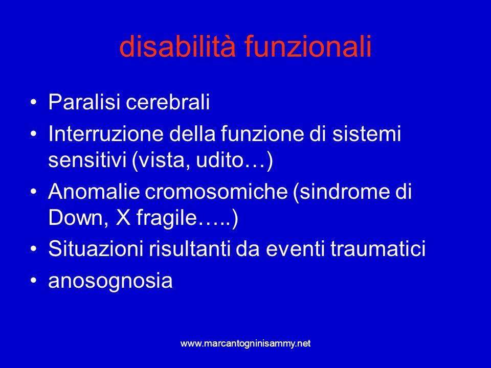 www.marcantogninisammy.net disabilità funzionali Paralisi cerebrali Interruzione della funzione di sistemi sensitivi (vista, udito…) Anomalie cromosom