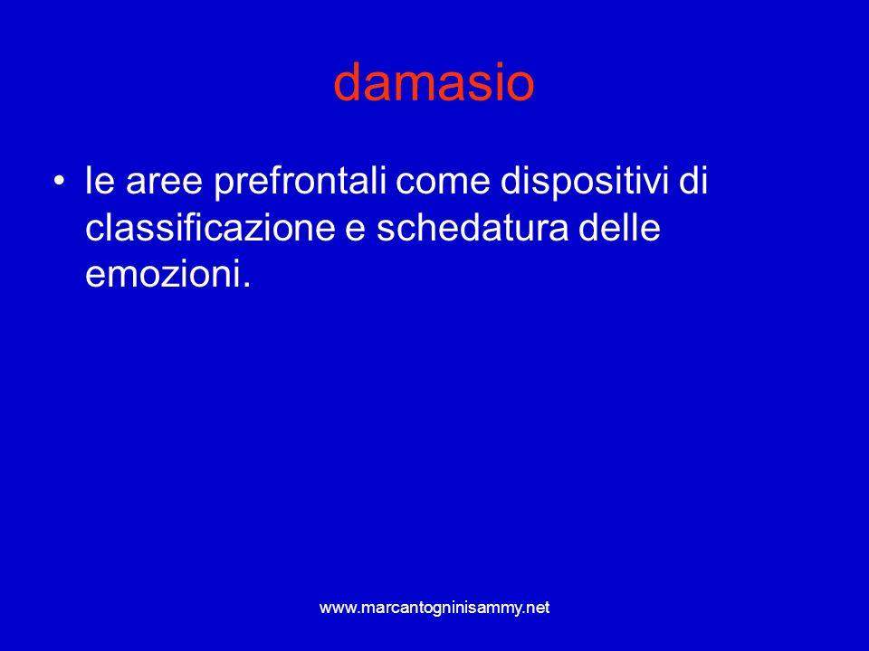 www.marcantogninisammy.net damasio le aree prefrontali come dispositivi di classificazione e schedatura delle emozioni.
