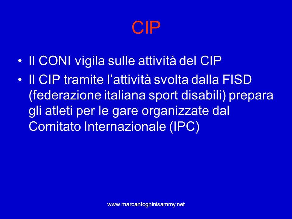 www.marcantogninisammy.net CIP Il CONI vigila sulle attività del CIP Il CIP tramite lattività svolta dalla FISD (federazione italiana sport disabili)