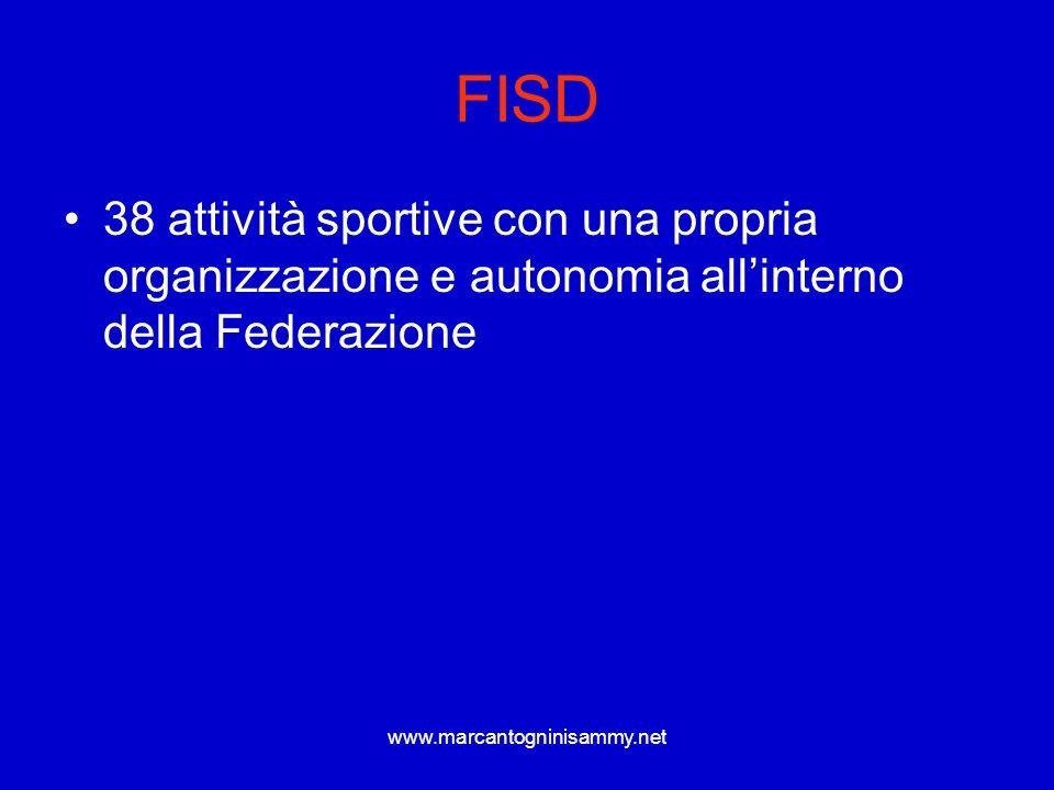 www.marcantogninisammy.net FISD 38 attività sportive con una propria organizzazione e autonomia allinterno della Federazione