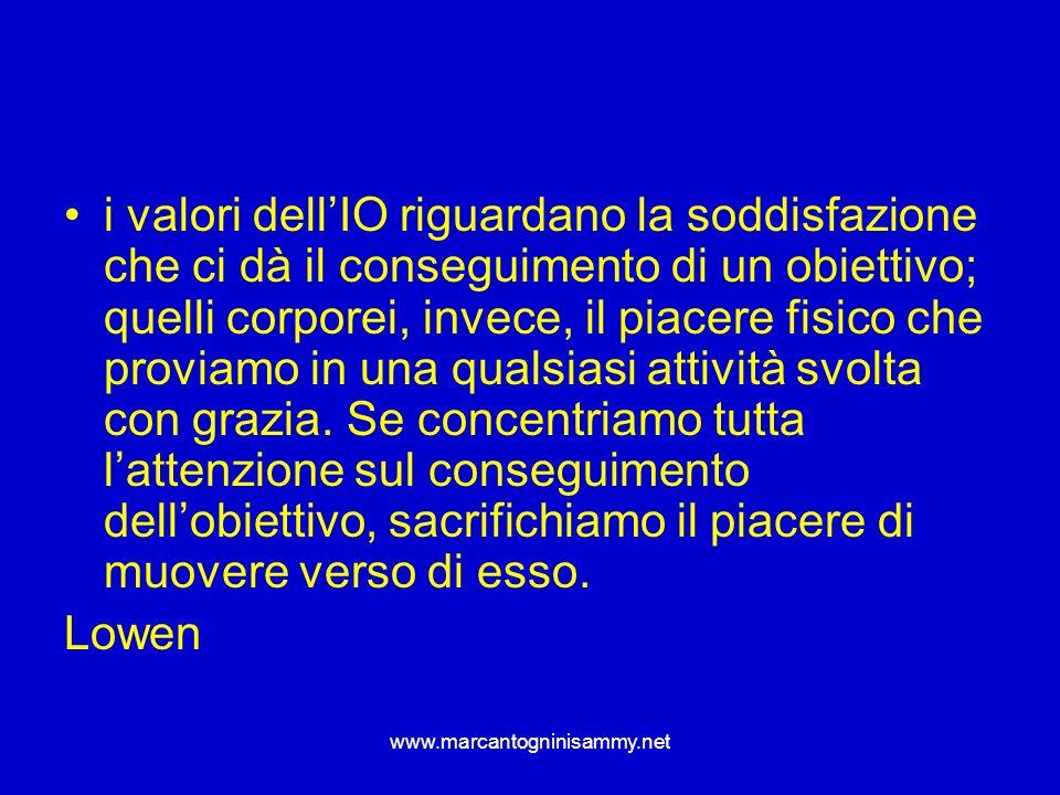 www.marcantogninisammy.net i valori dellIO riguardano la soddisfazione che ci dà il conseguimento di un obiettivo; quelli corporei, invece, il piacere