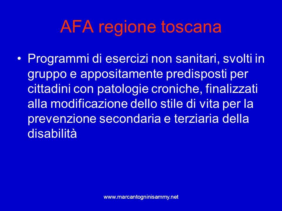 www.marcantogninisammy.net AFA regione toscana Programmi di esercizi non sanitari, svolti in gruppo e appositamente predisposti per cittadini con pato
