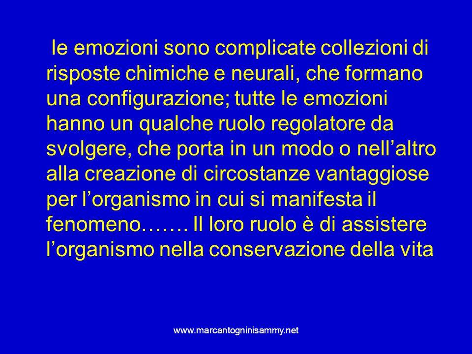 www.marcantogninisammy.net le emozioni sono complicate collezioni di risposte chimiche e neurali, che formano una configurazione; tutte le emozioni ha