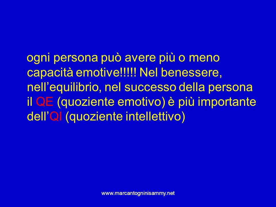 www.marcantogninisammy.net ogni persona può avere più o meno capacità emotive!!!!! Nel benessere, nellequilibrio, nel successo della persona il QE (qu