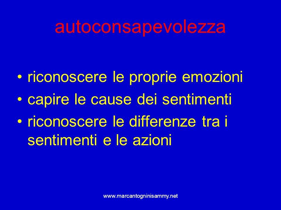 www.marcantogninisammy.net autoconsapevolezza riconoscere le proprie emozioni capire le cause dei sentimenti riconoscere le differenze tra i sentiment