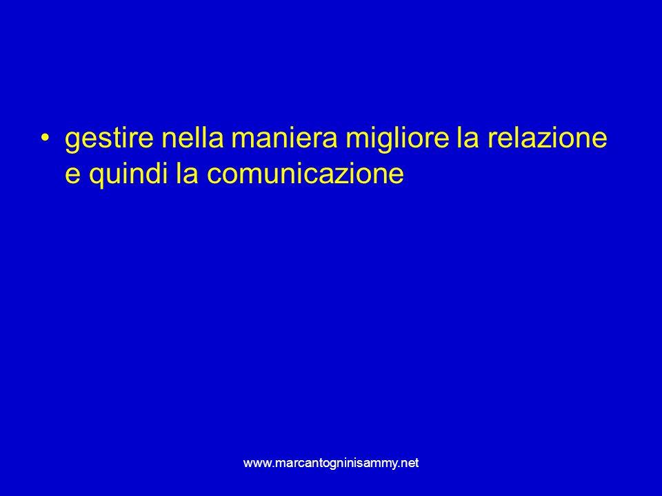 www.marcantogninisammy.net gestire nella maniera migliore la relazione e quindi la comunicazione