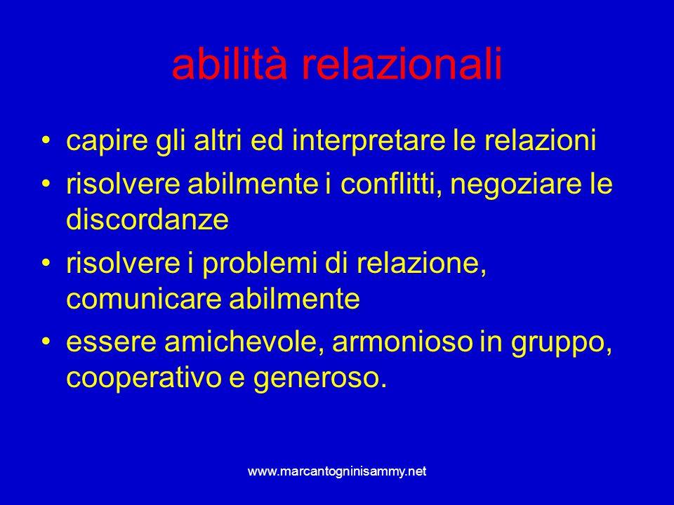 www.marcantogninisammy.net abilità relazionali capire gli altri ed interpretare le relazioni risolvere abilmente i conflitti, negoziare le discordanze